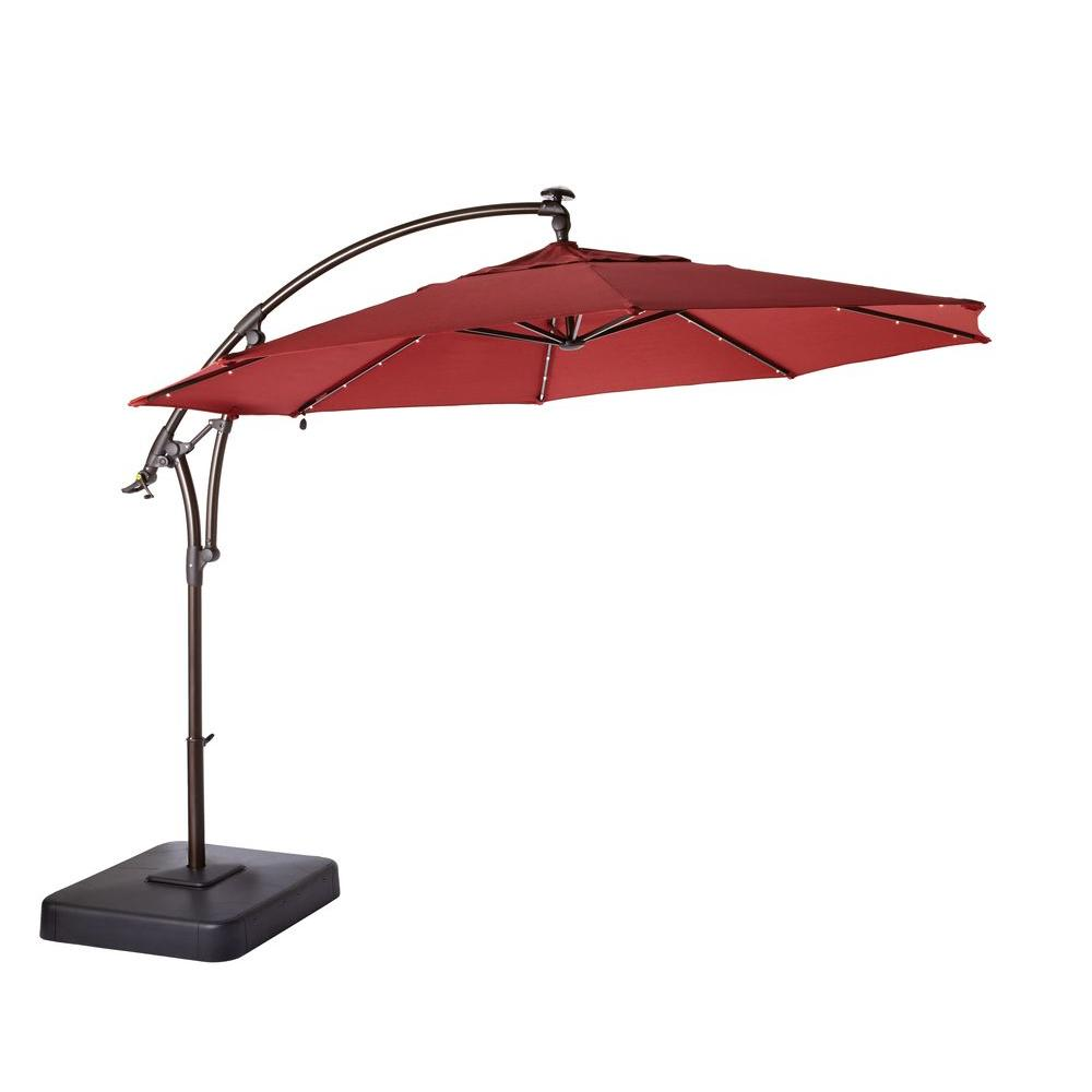 Hampton Bay 11 ft. LED Round Offset Patio Umbrella in Chili Red