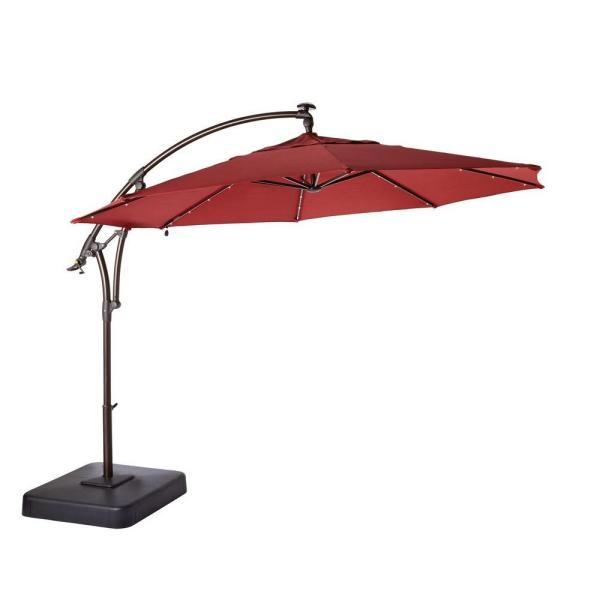 11 ft. LED Round Offset Outdoor Patio Umbrella in Chili Red