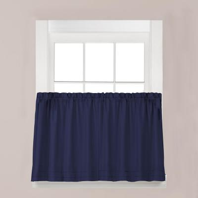 Holden Navy Polyester Rod Pocket Tier Curtain - 57 in. W x 30 in. L