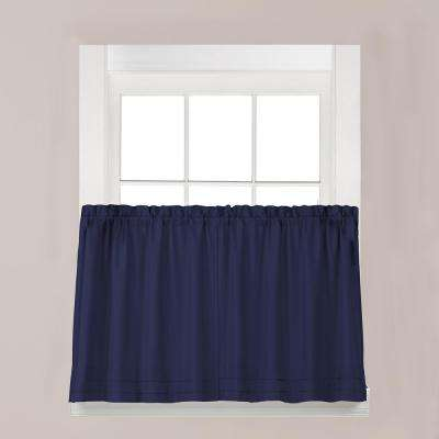 Holden Navy Polyester Rod Pocket Tier Curtain - 57 in. W x 45 in. L