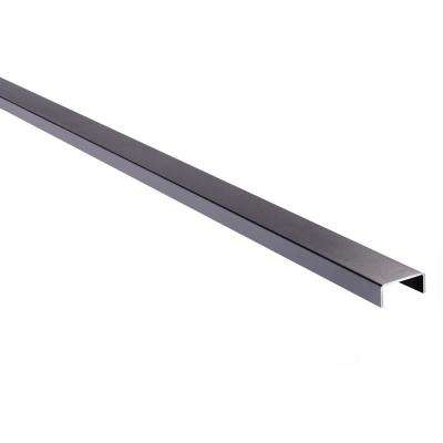 3 in. x 2 in. x 8 ft. Black Powder Coated Aluminum Fence Rail for Top of Fence