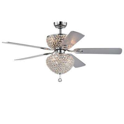 Swarana 52 in Indoor Chrome Finish Remote Controlled Ceiling Fan with Light Kit