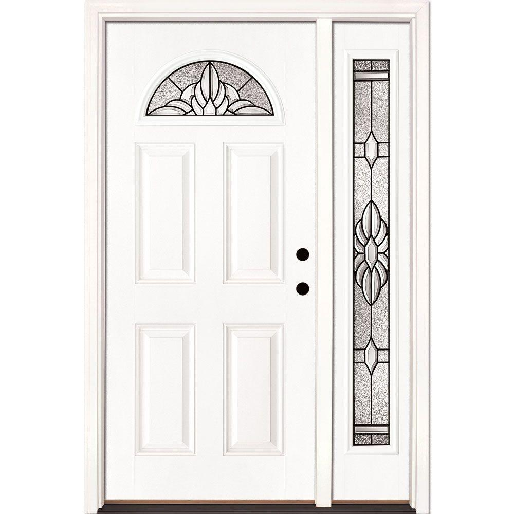 Feather River Doors 50.5 in. x 81.625 in. Sapphire Patina Fan Lite Unfinished Smooth Left-Hand Fiberglass Prehung Front Door with Sidelite