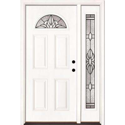 50.5 in. x 81.625 in. Sapphire Patina Fan Lite Unfinished Smooth Left-Hand Fiberglass Prehung Front Door with Sidelite