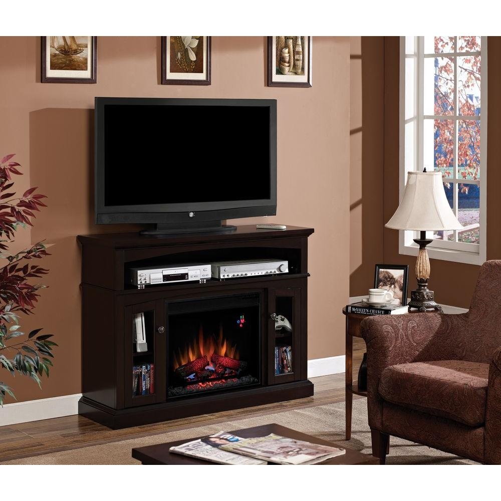 Hampton Bay 48 in. Media Console Electric Fireplace in Espresso-DISCONTINUED