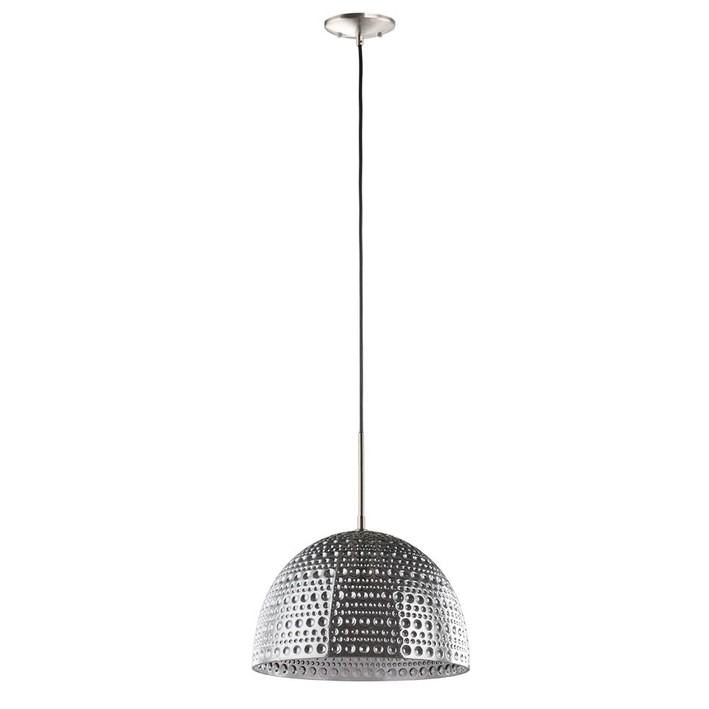 Home Decorators Collection 1-Light Brushed Nickel and Smoked Glass Mini Pendant