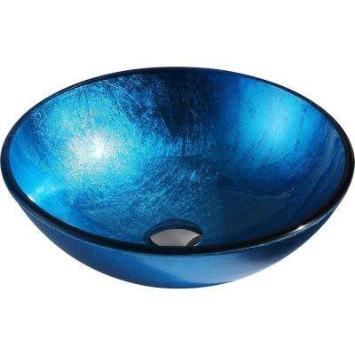 Arc Series Deco-Glass Vessel Sink in Lustrous Light Blue