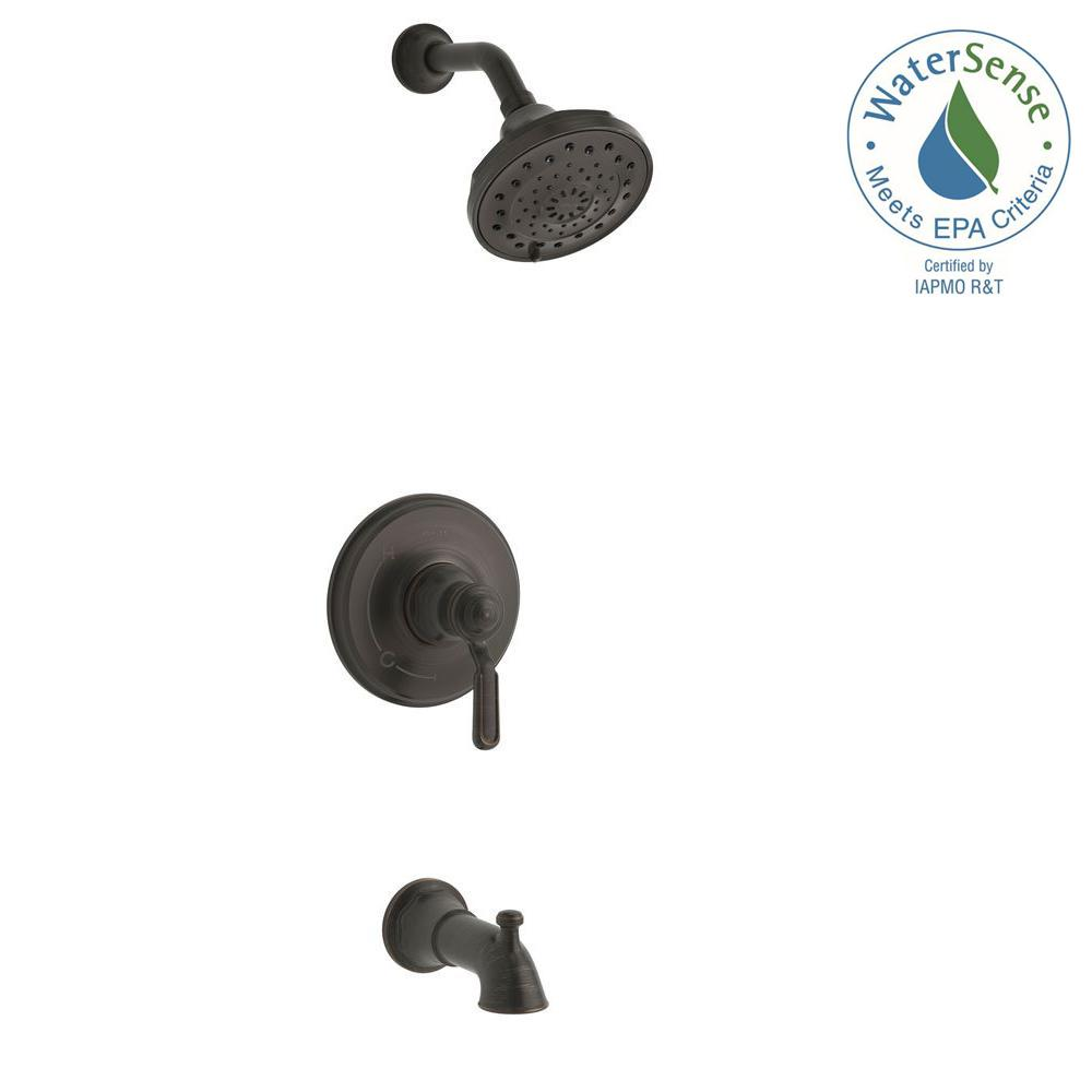 KOHLER Worth 1 Handle 3 Spray Tub And Shower Faucet In Oil Rubbed Bronze