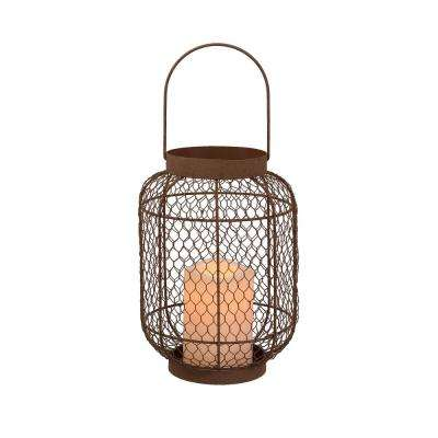 15.3 in. H White Wood Lantern