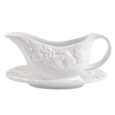 Fruitful 8 in. White Gravy Boat with Saucer