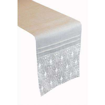 Grey Arabesque Poly and Linen Table Runner