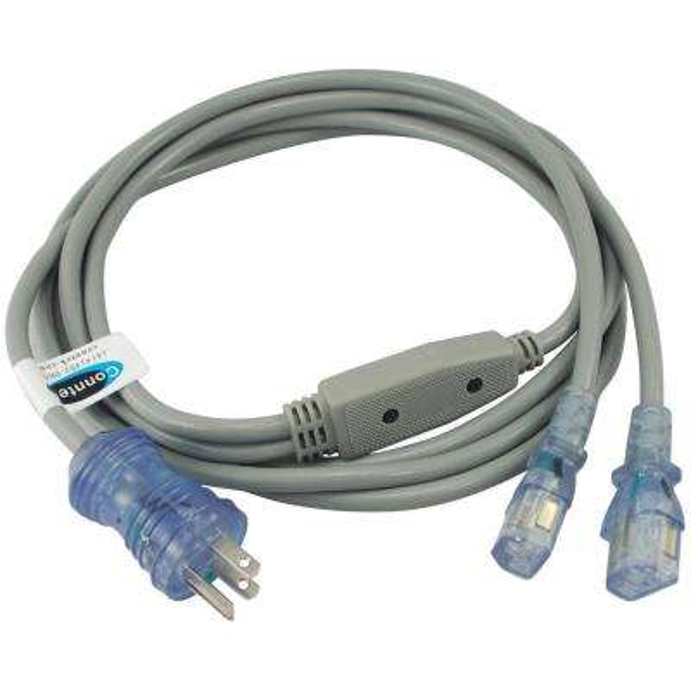 10 ft. 18/3 10 Amp Hospital/Medical Grade Green Dot Power Cord NEMA 5-15P to (2) IEC C13 (IT/CPU/Server End)
