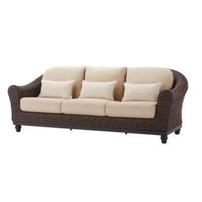 Camden Dark Brown Wicker Outdoor Patio Sofa with Sunbrella Antique Beige & Fretwork Flax Cushions