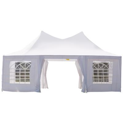 22 ft. x 16 ft. Large White UV Resistant Octagonal 8-Wall Party Canopy Gazebo Tent with Removable Side Walls