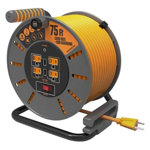 75 ft 15 Amp 12 AWG Large Open Reel with USB Charging and 4-Sockets