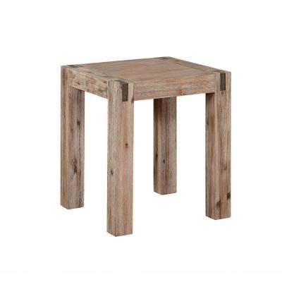 Woodstock Brushed Driftwood Acacia Wood with Metal Inset End Table