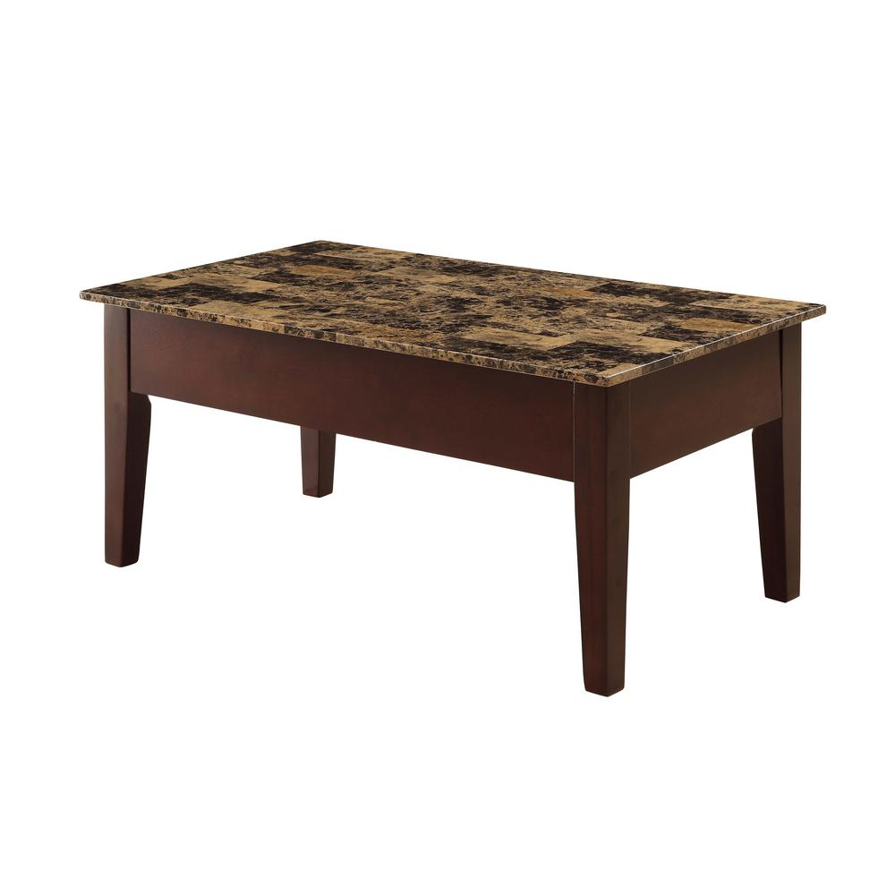 Dusty II Light Brown Faux Marble and Cherry Coffee Table with