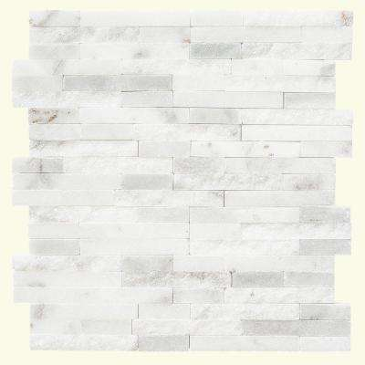 Churchill White Split Face 11.75 in. x 12.5 in. x 8 mm Marble Mosaic Wall Tile
