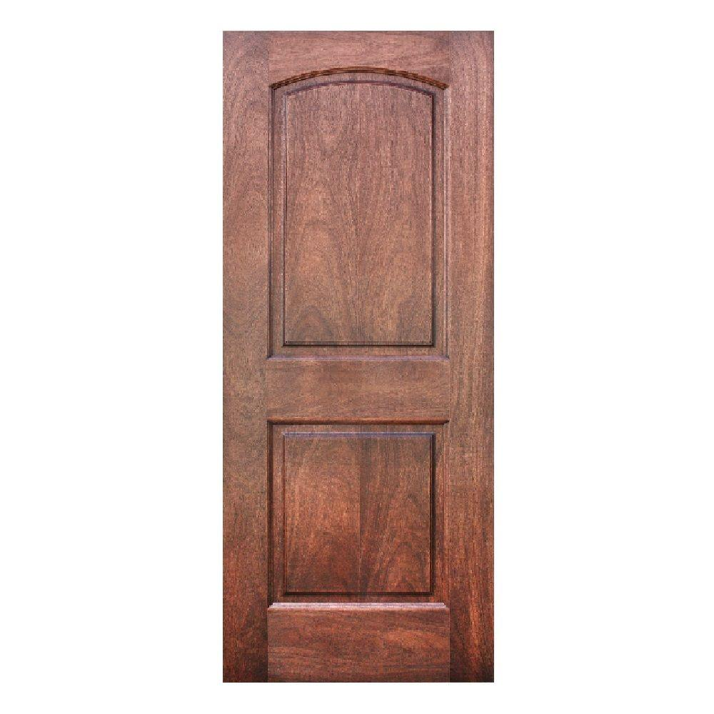 Krosscore 2-Panel Arch Top Honeycomb Core Mahogany Wood Single Prehung Interior Door