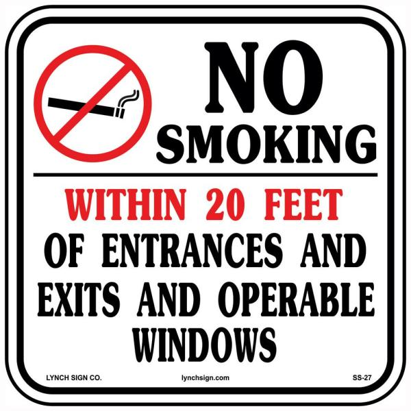 12 in. x 12 in. No Smoking Sign Printed on More Durable, Thicker, Longer Lasting Styrene Plastic