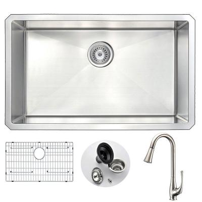 VANGUARD Undermount Stainless Steel 30 in. Single Bowl Kitchen Sink and Faucet Set with Singer Faucet in Brushed Nickel