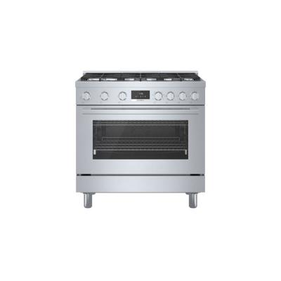 36 in. 3.7 cu. ft. Industrial Style Dual Fuel Range with 6-Burners in Stainless Steel