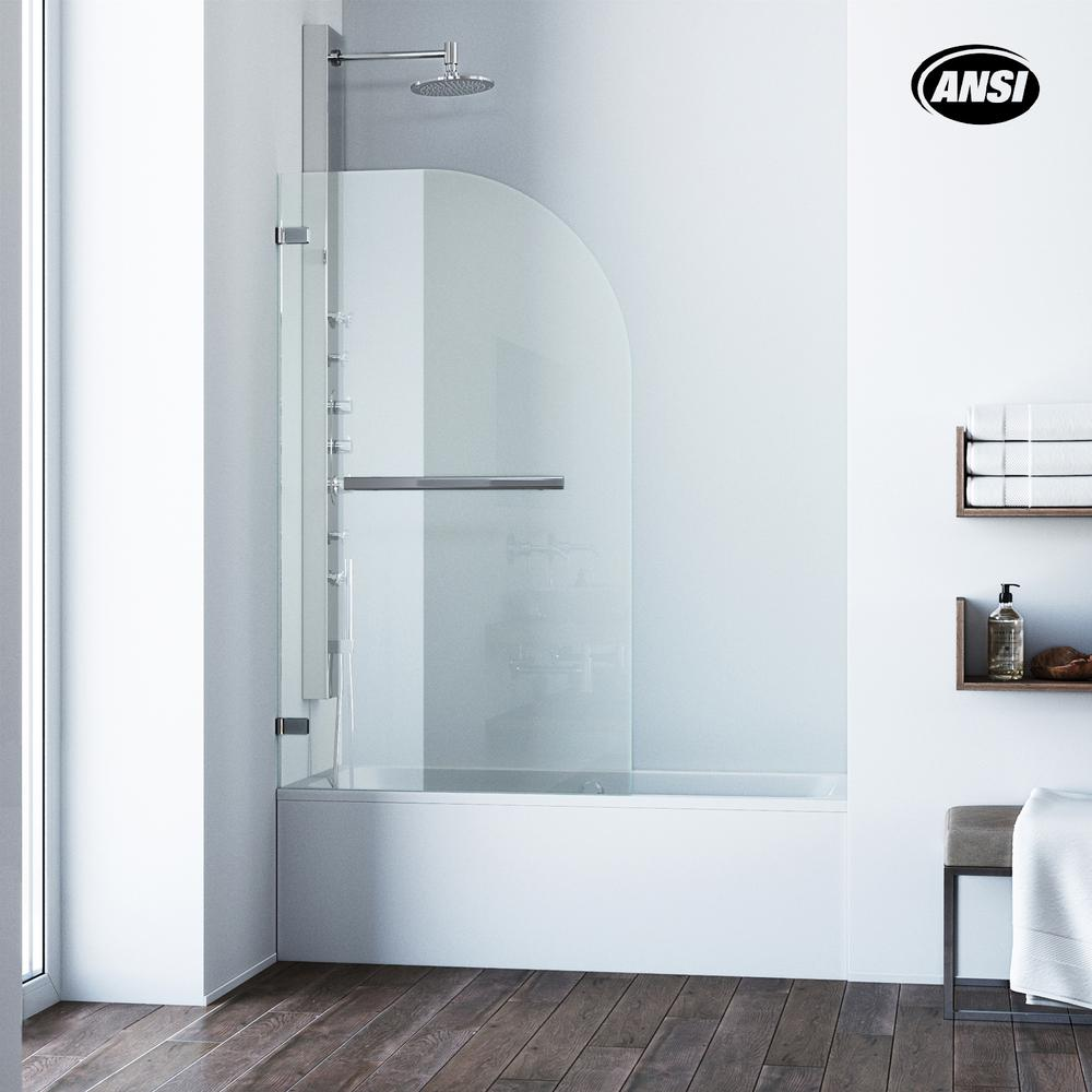 VIGO Orion 34 in. x 58 in. Pivot Clear Curved Tub Door in Chrome ...