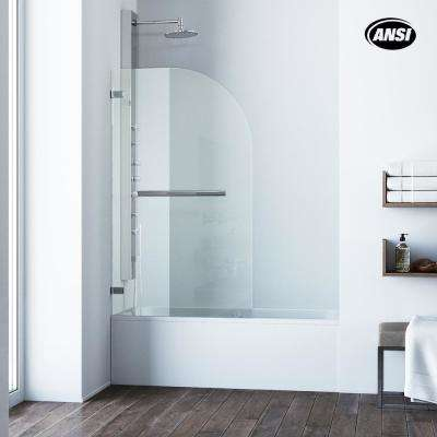 Orion 34 in. x 58 in. Pivot Clear Curved Tub Door in Chrome