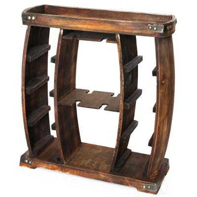 Decorative Wooden 8-Bottle Rustic Wine Rack with Glasses Holder