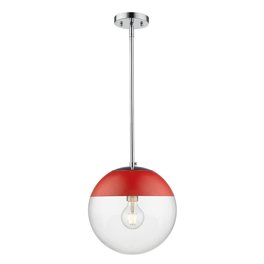 Golden Lighting Dixon 1-Light Chrome with Clear Glass and Red Cap Pendant
