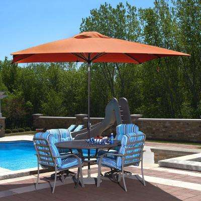 Caspian 8 ft. x 10 ft. Rectangular Market Push-Button Tilt Patio Umbrella in Terra Cotta Olefin