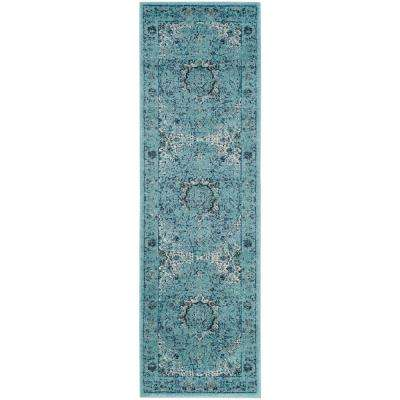 Evoke Light Blue 2 Ft X 15 Runner Rug