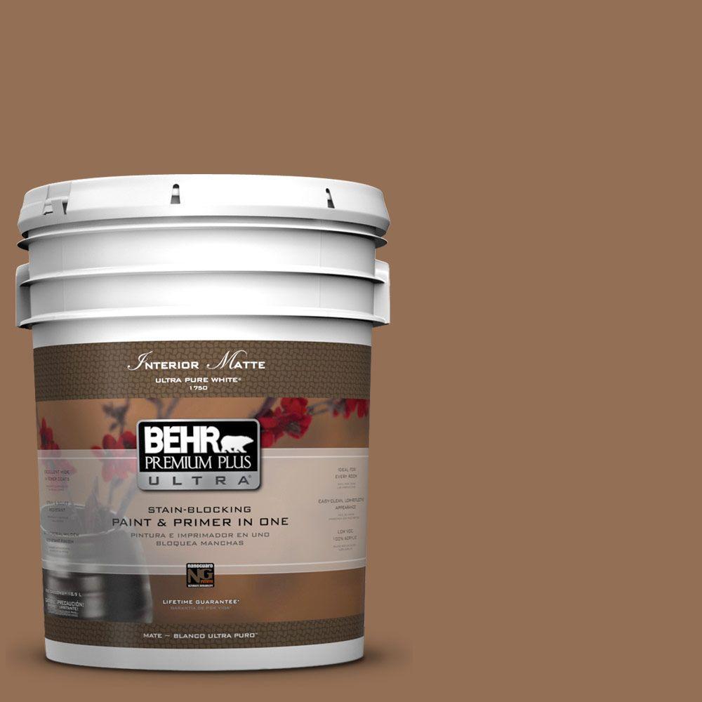 BEHR Premium Plus Ultra 5 gal. #UL140-21 Toffee Bar Flat/Matte Interior Paint