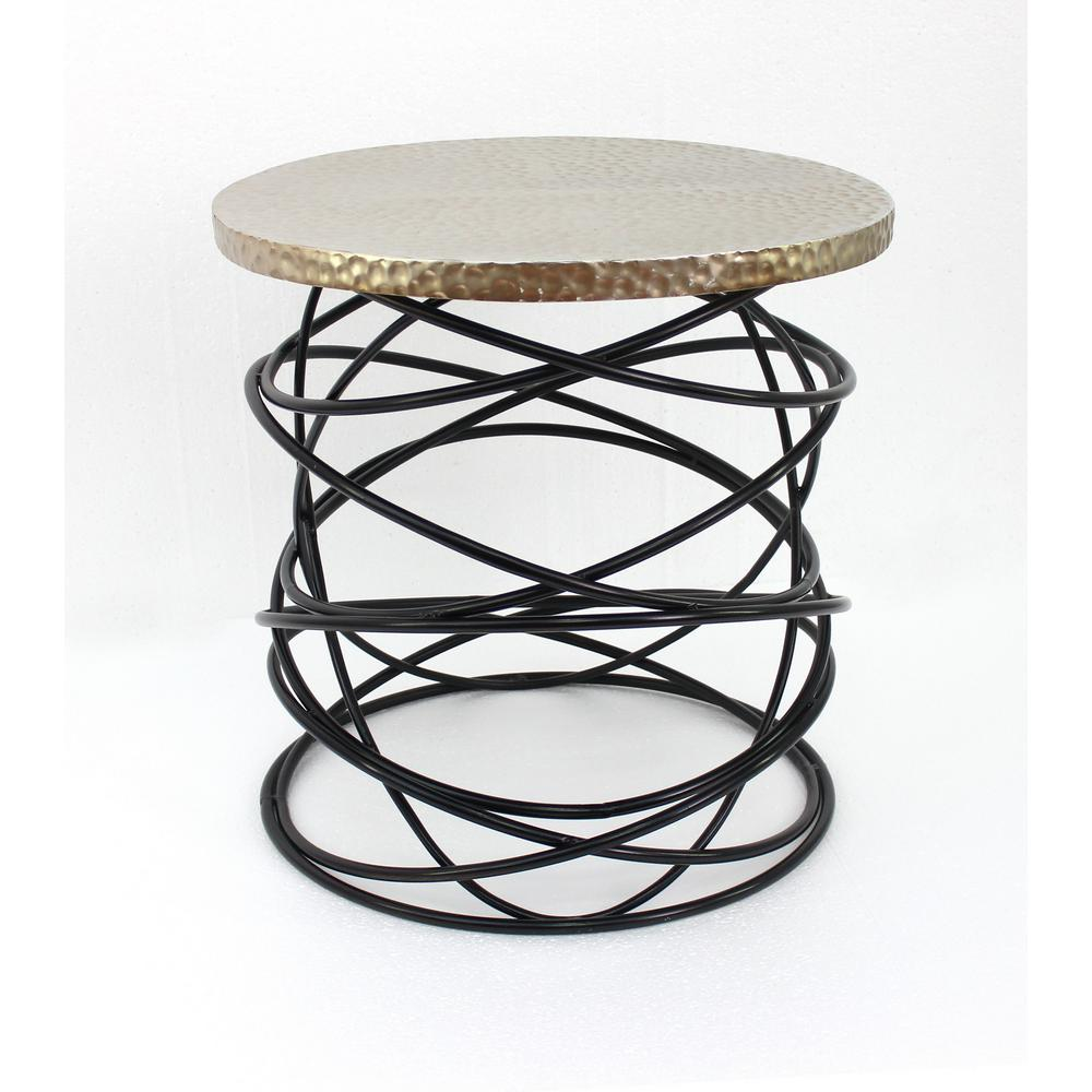 Gold Metal End Table With Black Base