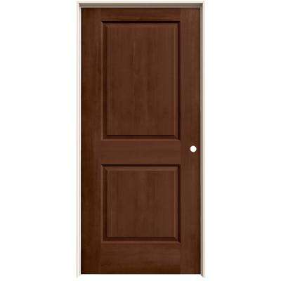 36 in. x 80 in. Cambridge Milk Chocolate Stain Left-Hand Molded Composite MDF Single Prehung Interior Door