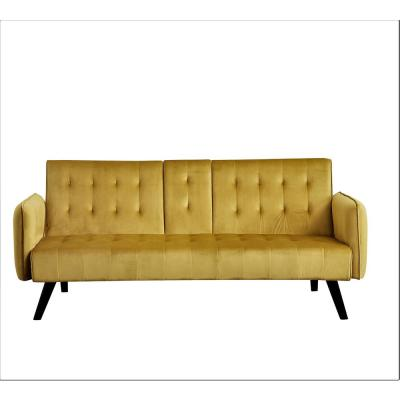 Cricklade 72 in. Golden Yellow Velvet 2-Seater Twin Sleeper Convertible Sofa Bed with Tapered Legs