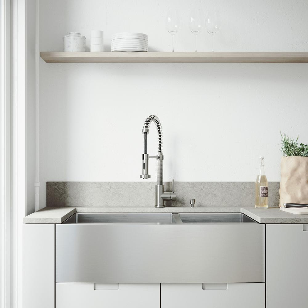 Vigo All In One 36 In Bingham Stainless Steel 60 40 Double Bowl Farmhouse Kitchen Sink Pull Down Faucet In Stainless Steel
