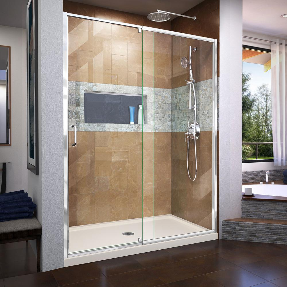 DreamLine Flex 60 in. x 74.75 in. Semi-Frameless Pivot Shower Door ...