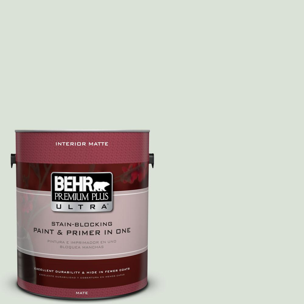 BEHR Premium Plus Ultra 1 gal. #N390-1 Light Mist Matte Interior Paint and Primer in One
