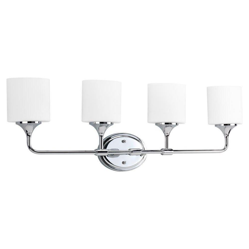 Progress Lighting Lynzie Collection 4-Light Chrome Vanity Light with Opal Etched Glass Shades