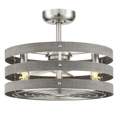 Gulliver 24 in. Indoor/Outdoor Brushed Nickel Dual Mount Ceiling Fan with Light Kit and Remote Control