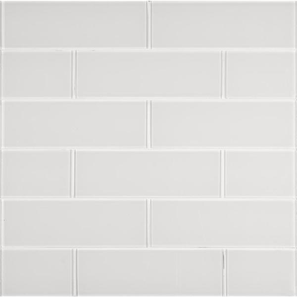 Ice Glossy 4 in. x 12 in. Glass White Subway Tile (2 sq. ft. / case)