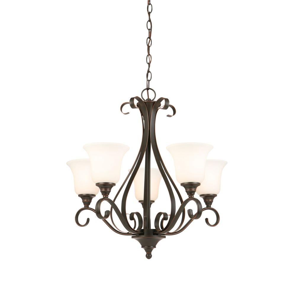 Hamptons Style Lighting: Hampton Bay 5-Light Oil-Rubbed Bronze Chandelier With Frosted White Glass Shades-IAY8115A-4