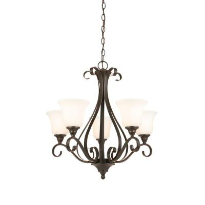 5-Light Oil-Rubbed Bronze Chandelier with Frosted White Glass Shades