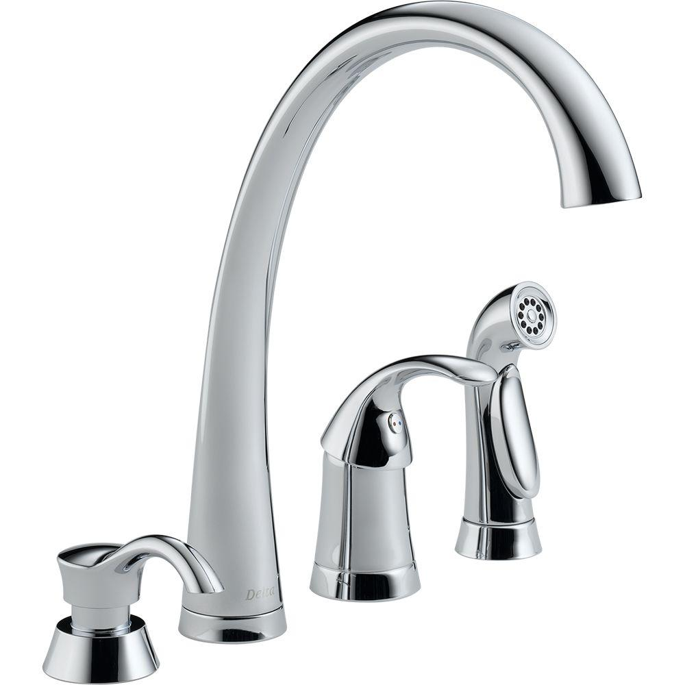 Pilar Waterfall Single-Handle Standard Kitchen Faucet with Side Sprayer and Soap