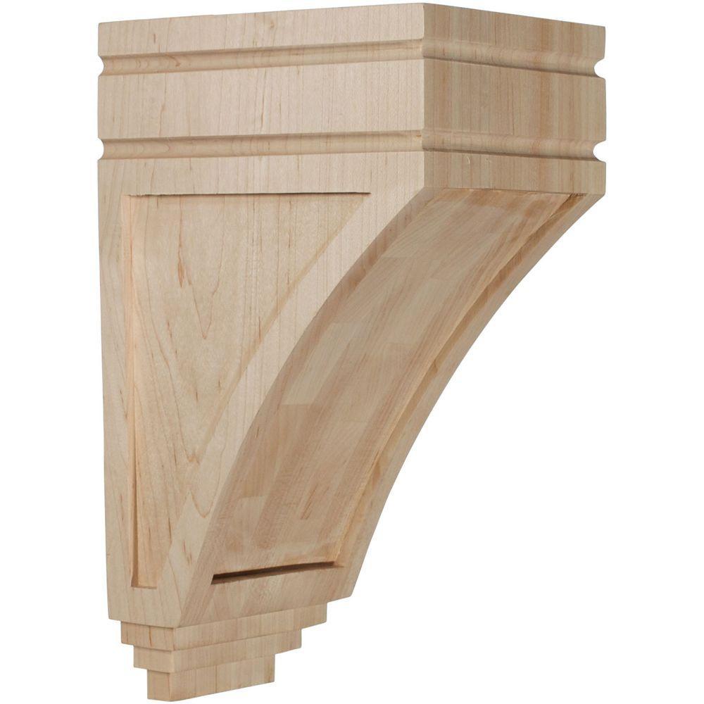 6 in. x 5 in. x 10-1/2 in. Unfinished Wood Red Oak Medium San Juan Wood Corbel