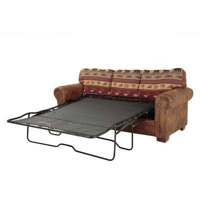 Sierra Lodge 88 in. Brown/Rust Microfiber 4-Seater Queen Sleeper Sofa Bed with Removable Cushions