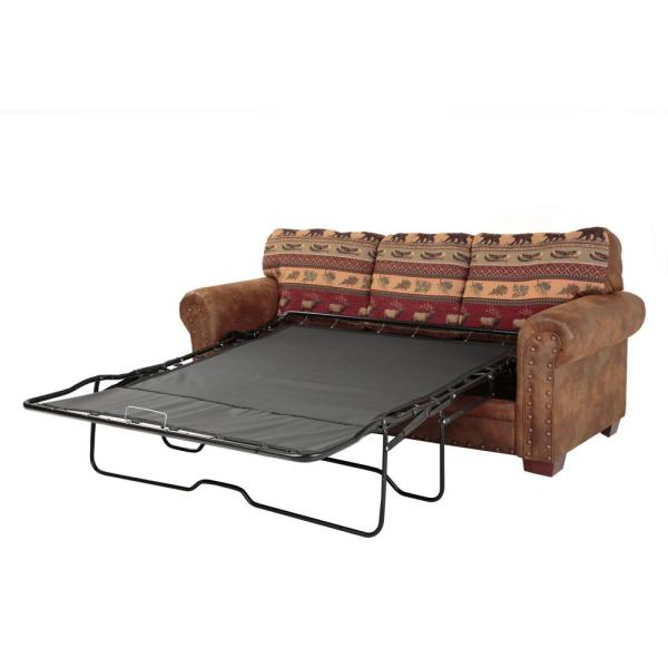 American Furniture Clics Sierra Lodge Microfiber And Tapestry Brown Pattern With Nail Head Accents Sleeper Sofa