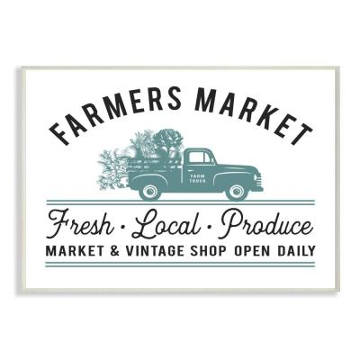"""10 in. x 15 in. """"Farmer's Market Icon Vintage Sign"""" by Lettered and Lined Printed Wood Wall Art"""