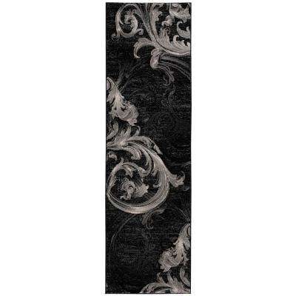 Soho Black/Grey 2 ft. x 8 ft. Runner Rug